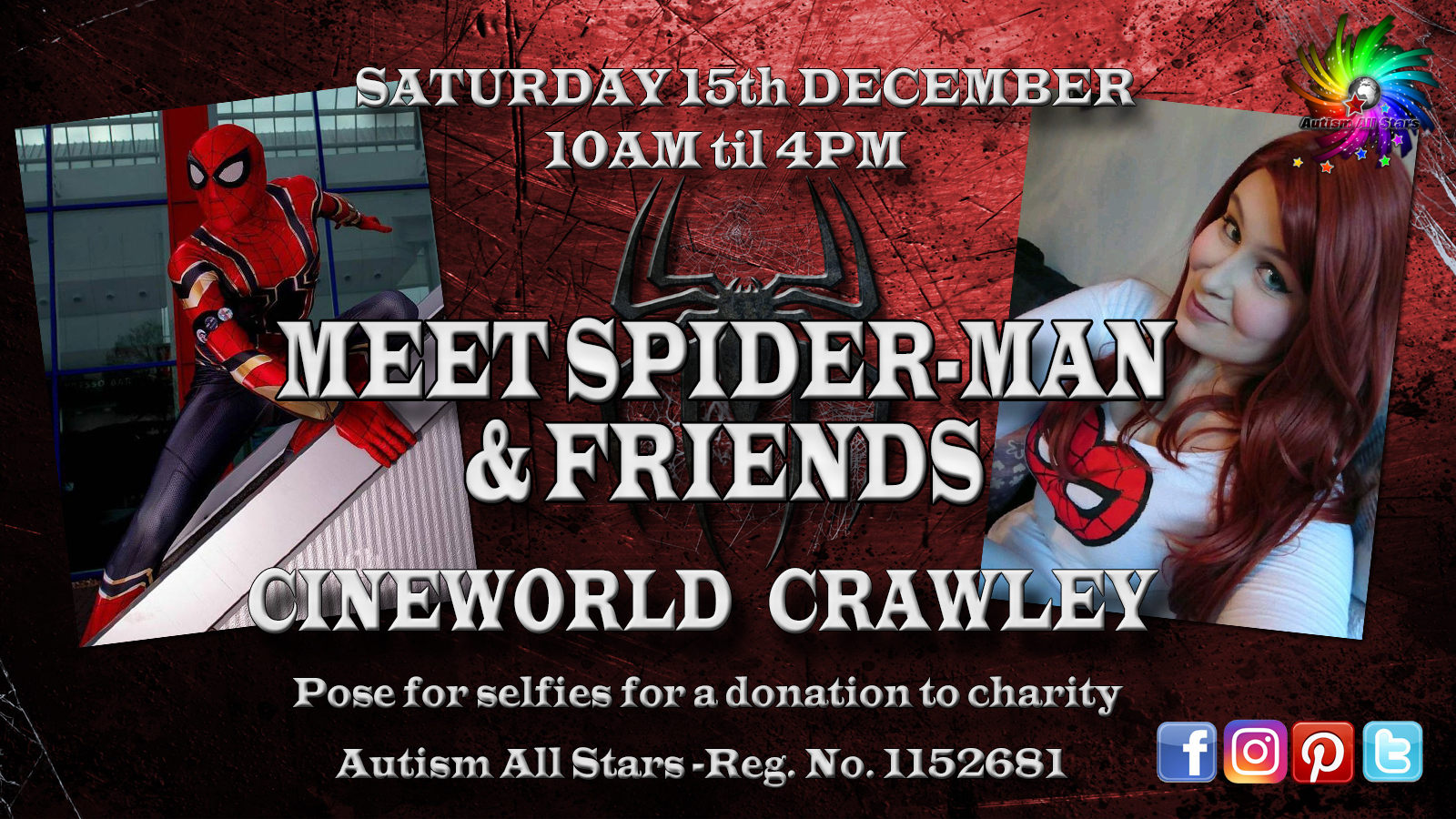 Aspergers, autism, Autism All Stars, autism awareness, characters, charity, cinema, Cineworld, cosplay, diversity, events, sussex, crawley, west sussex, Spider-Man