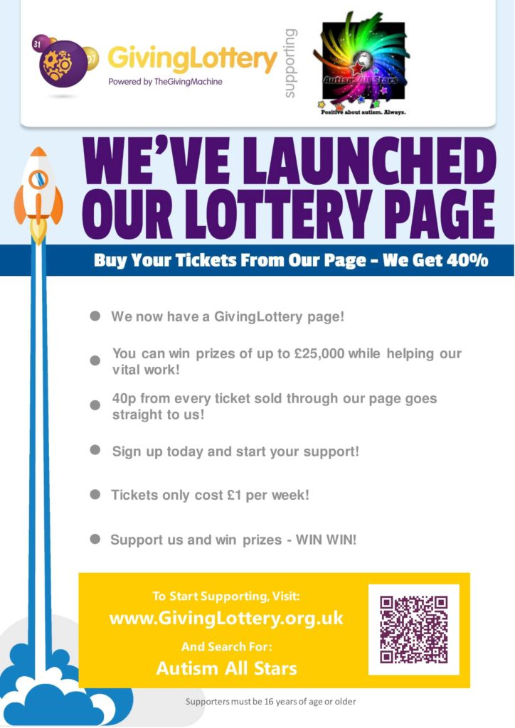 Aspergers, autism, Autism All Stars, autism awareness, charity, diversity, surrey, sussex, south east, Giving Lottery, fundraising, buy tickets, inclusion, acceptance